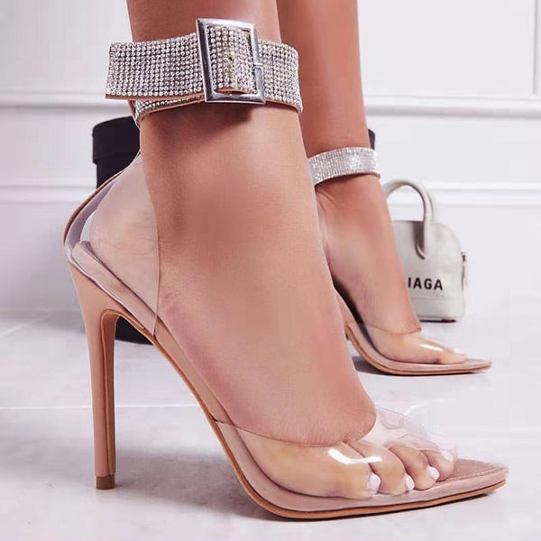 Transparent Stiletto Ankle Strap Pumps