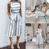 Sleeveless Striped Wide Leg Overalls