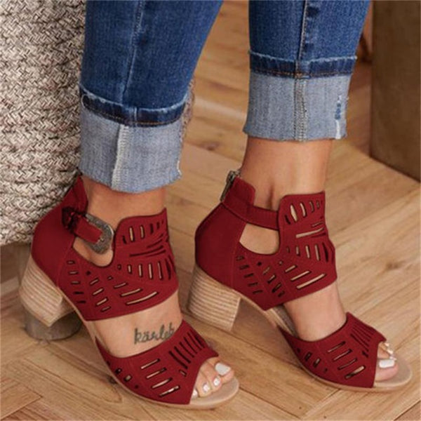 Hollow Out Mid Heel Sandals
