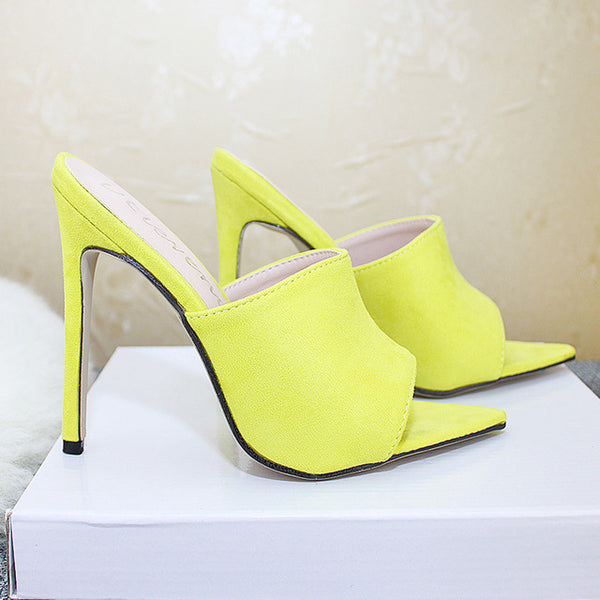 Pointed Toe High Heel Slippers