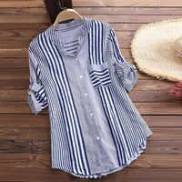 Stripe Print Loose Casual Blouse