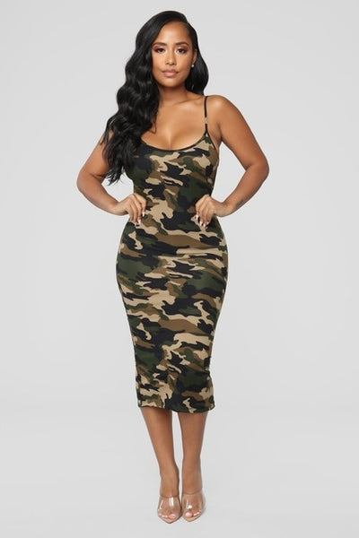 Fashion Camouflage Bodycon Dress