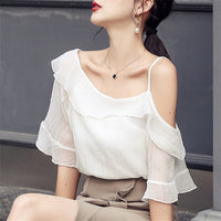Ruffle Sleeve Slash Neck One Shoulder Blouse