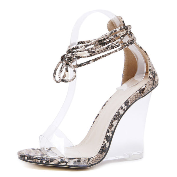 Ankle Strap Transparent Wedge Sandals