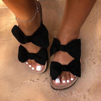 Fashion Double Bow Slides