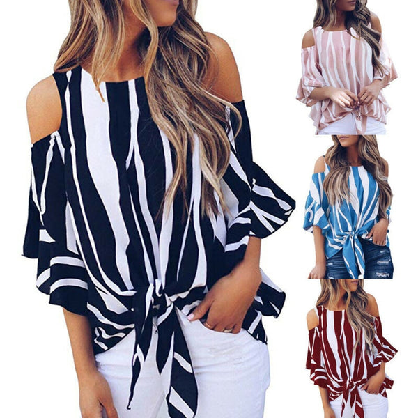 Off The Shoulder Stripe Tie Knot Blouse