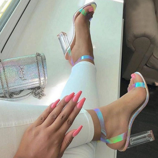 Multi Color Transparent Ankle Strap Sandals