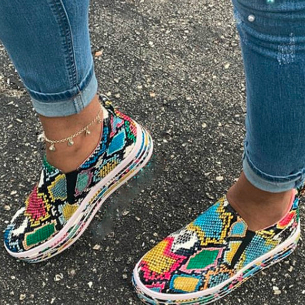 Multi Color Snake Casual Sneakers