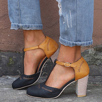 Ankle Strap Chunky Heels Shoes