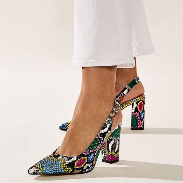 Hot Design Multi Snake Sling Backs