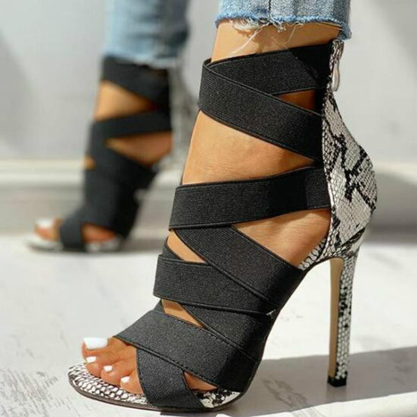 Bandage Patchwork High Heels