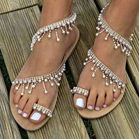 Boho Pearl Decoration Slippers