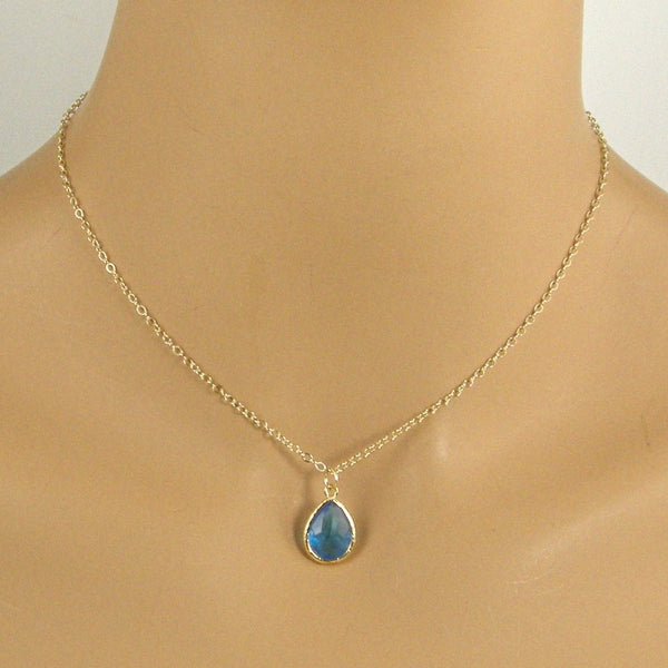 blue crystal teardrop necklace