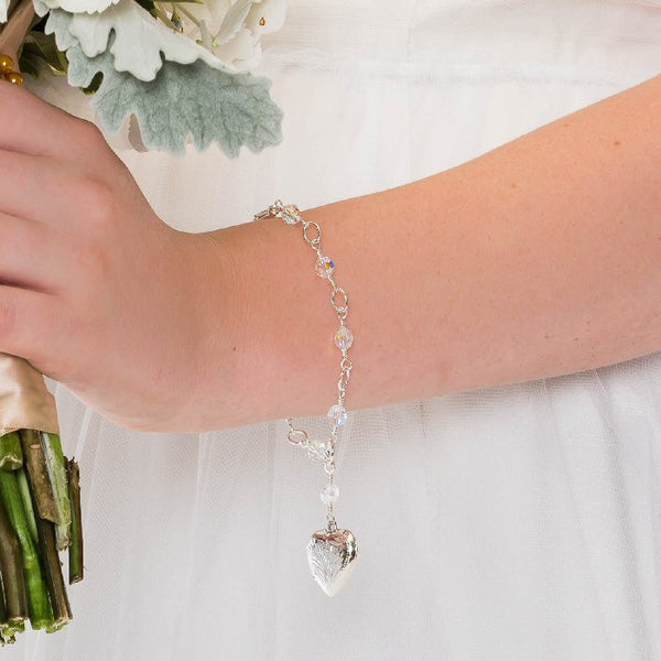 sterling silver heart crystal photo locket bracelet