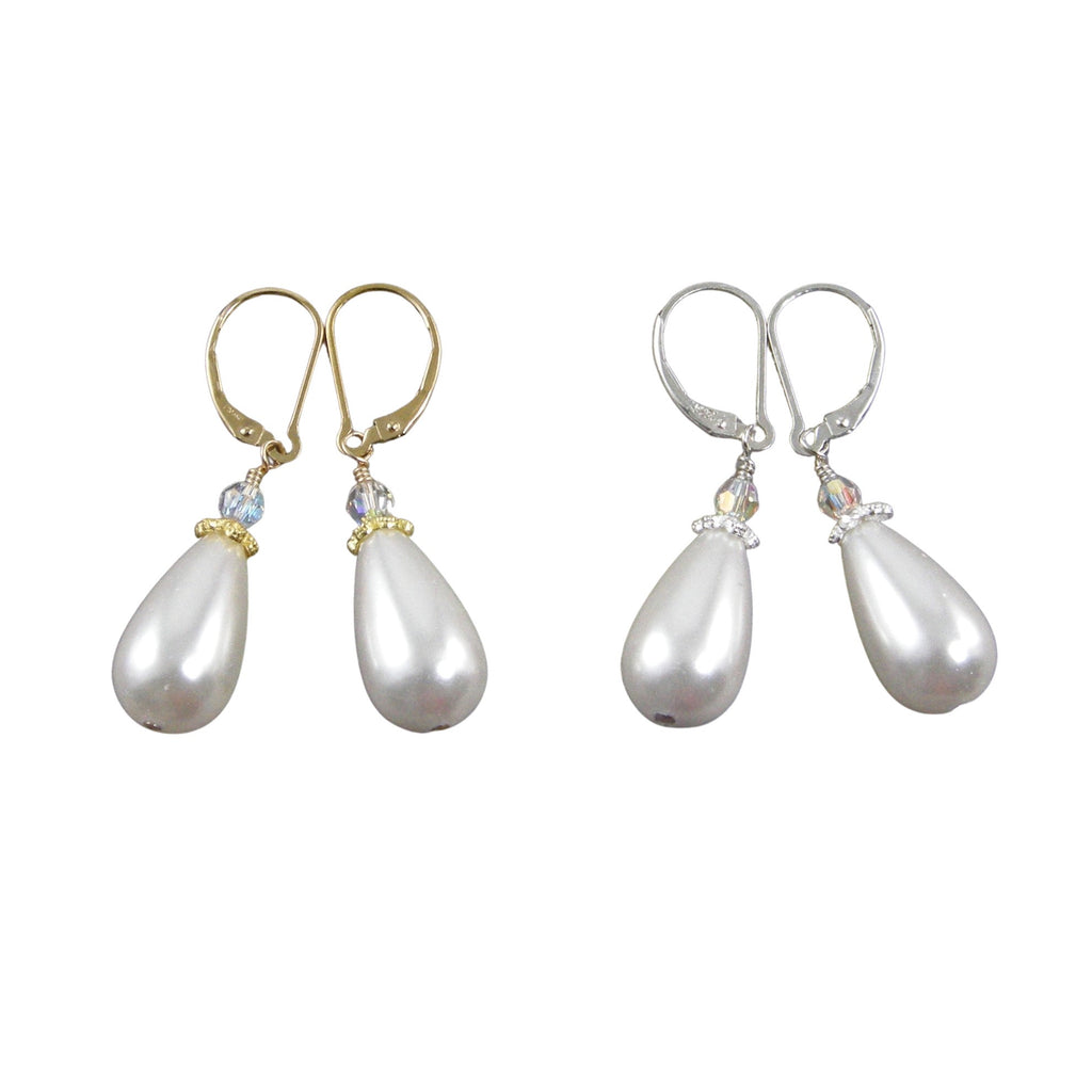 crystal teardrop pearl earrings