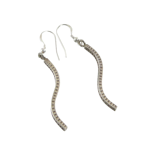 Long Curved Karen Hill Tribe Sterling Silver Pendant Earrings