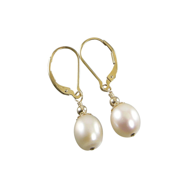 White Freshwater Teardrop Pearl Earrings, White Pearl Gold Teardrop Earrings