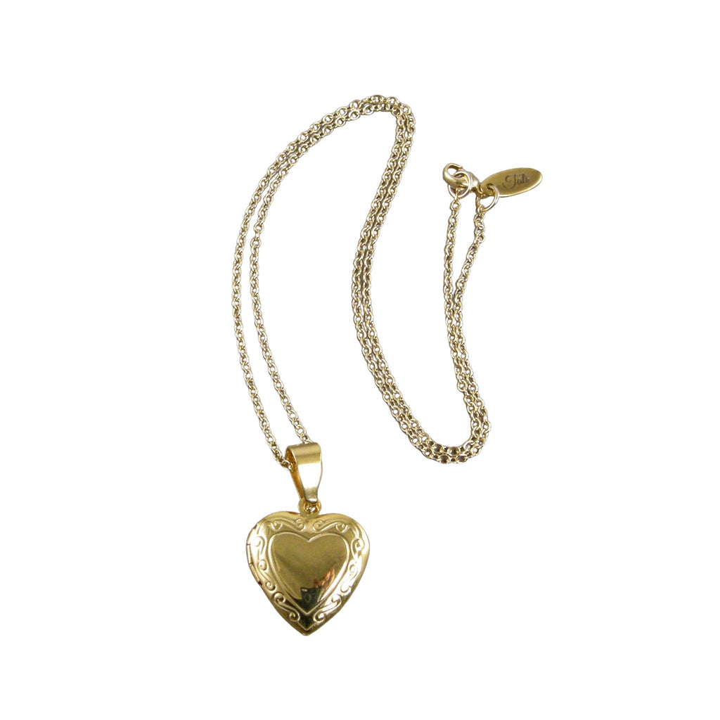 gold heart photo locket necklace