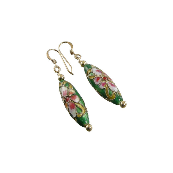 green cloisonné earrings
