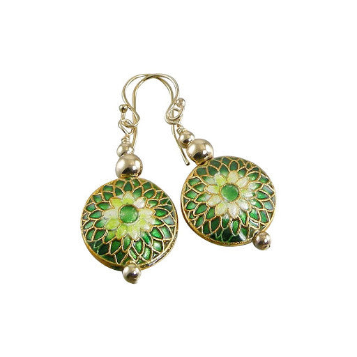 Emerald Green Cloisonné Gold Bead Earrings