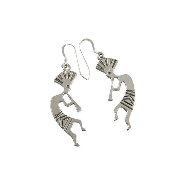 Antique Silver Kokopelli Earrings, Native American Earrings, Kokopelli Jewelry