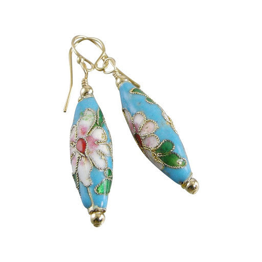 blue cloisonné earrings