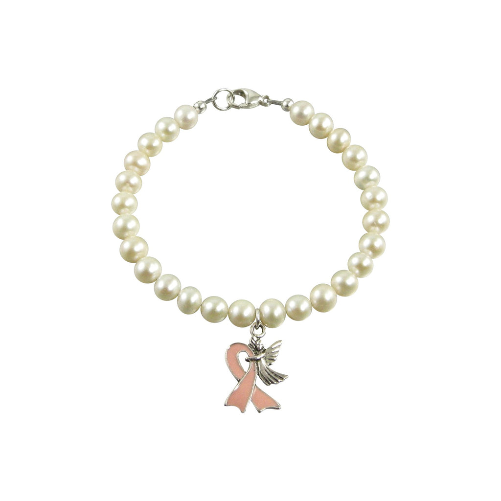 pearl breast cancer awareness bracelet