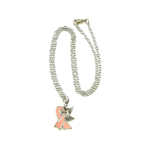 Pink Breast Cancer Ribbon Angel Necklace