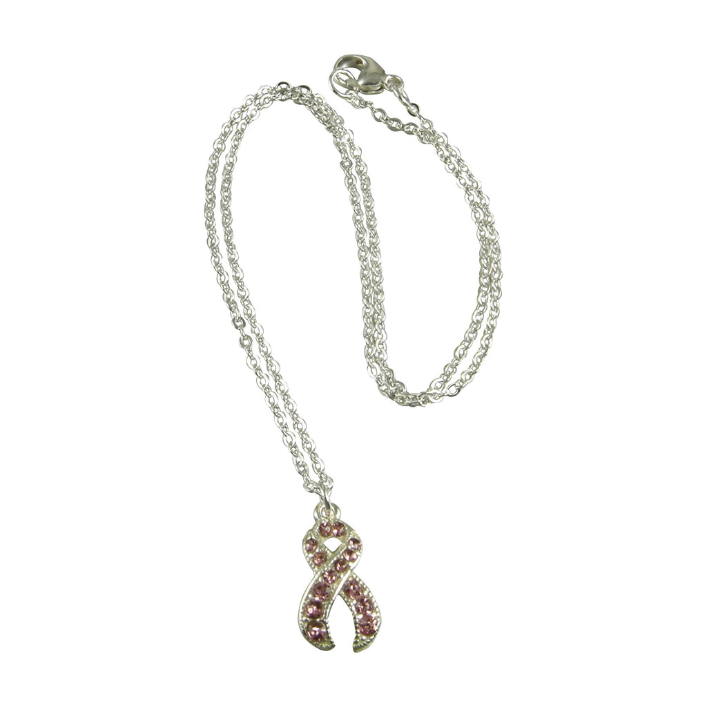 pink ribbon breast cancer awareness necklace