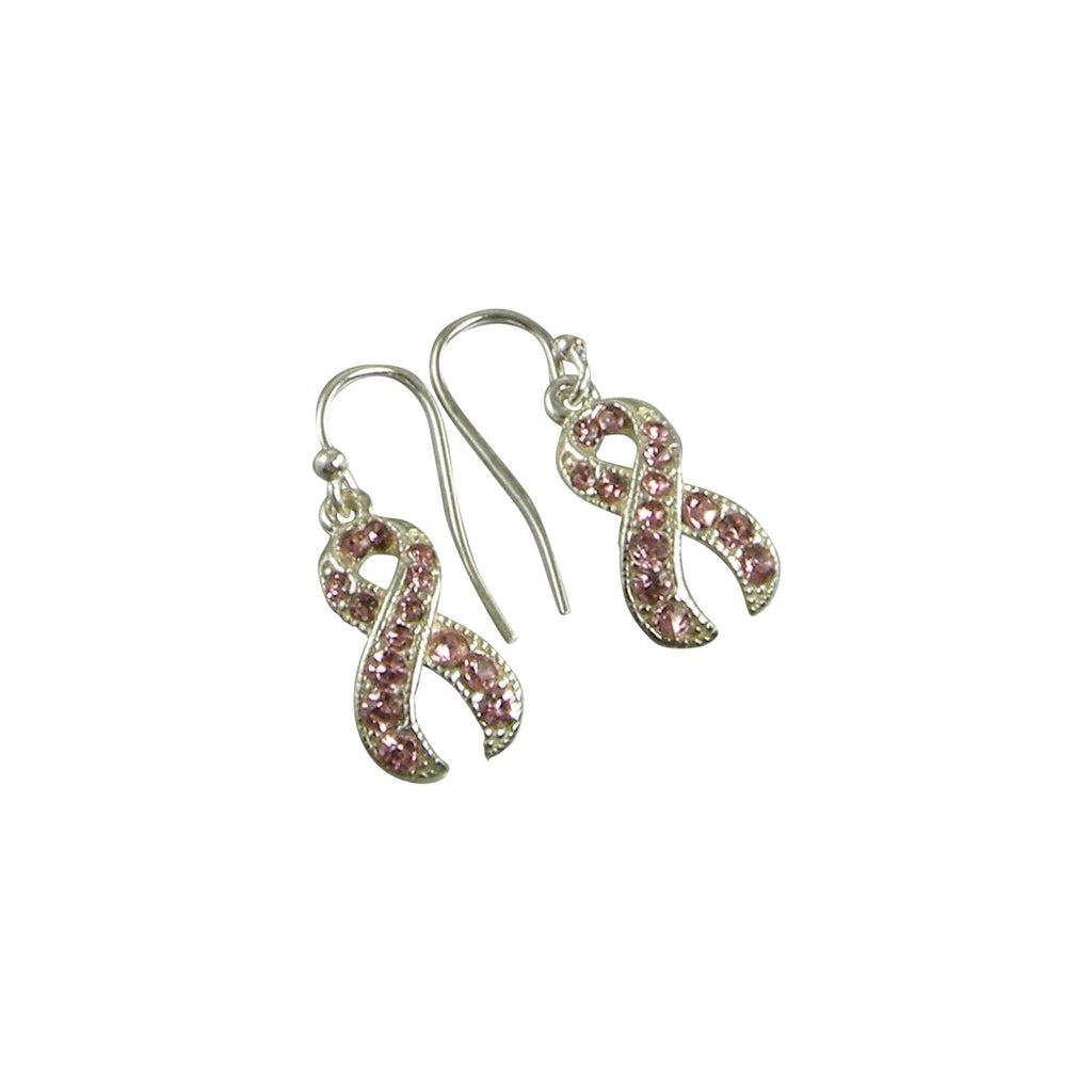 pink crystal breast cancer awareness earrings