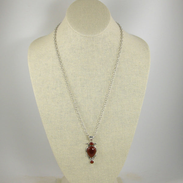 Red Onyx Sterling Silver Pendant Long Rope Necklace, Onyx Necklace