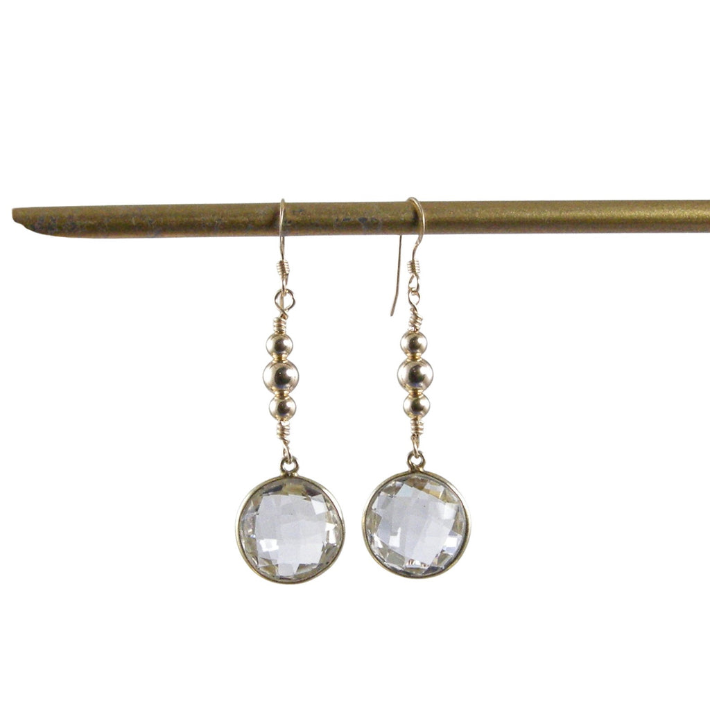 gold bead rock crystal earrings