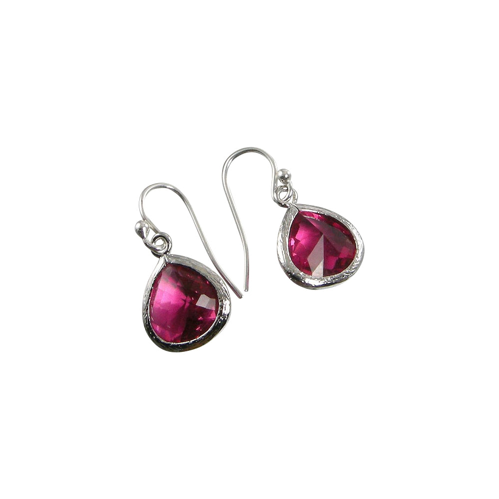 red crystal sterling silver earrings