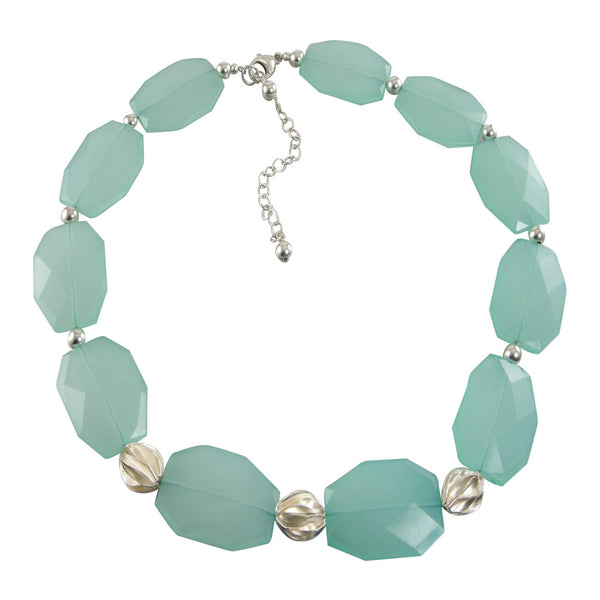 Sea Foam Slab Bead Sterling Silver Statement Necklace