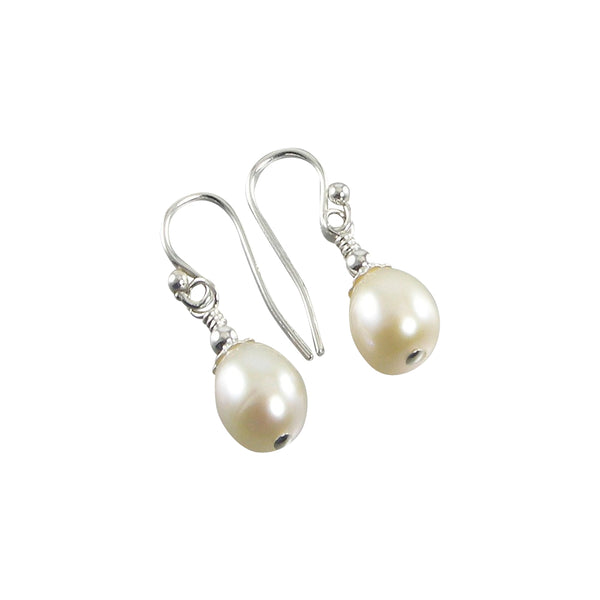 White Freshwater Teardrop Pearl Earrings, White Pearl Sterling Silver Teardrop Earrings