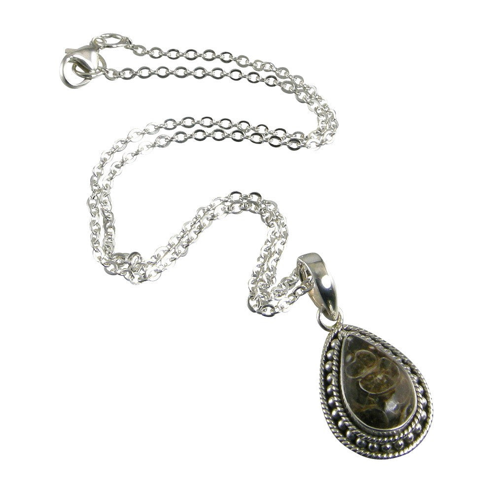 Turritella Agate Sterling Silver Pendant Necklace
