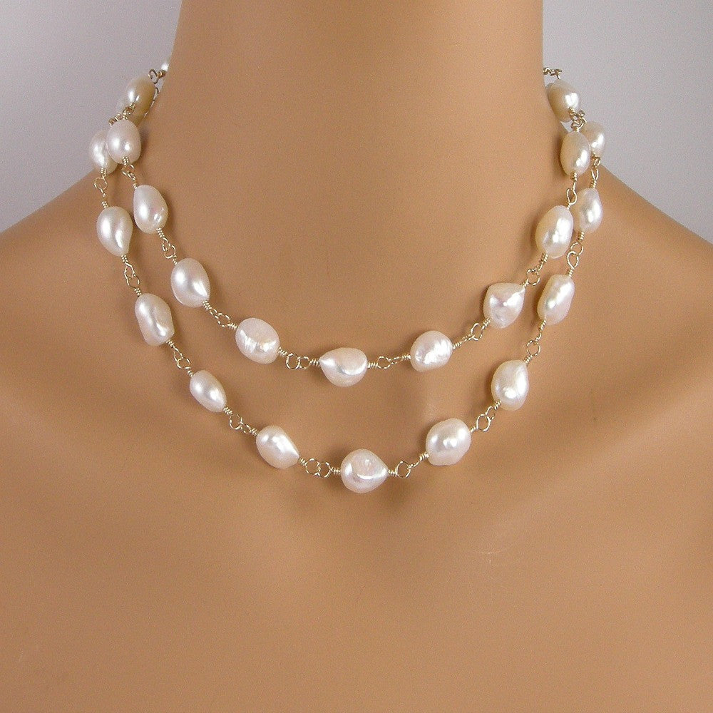 White Freshwater Pearl Gold Rope Necklace