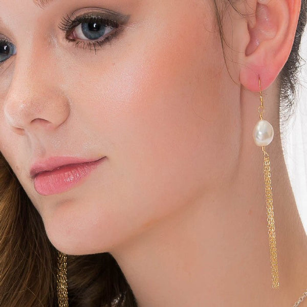 white pearl gold tassel earrings