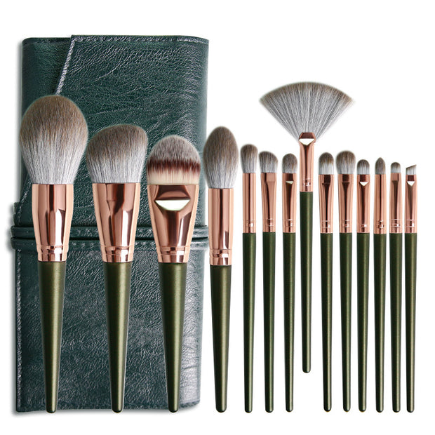 14 green cloud eyeshadow makeup brush set beauty tools makeup brush - showemakeup