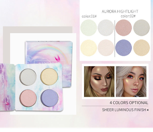 Color-changing 4 color highlighter eye shadow palette - showemakeup