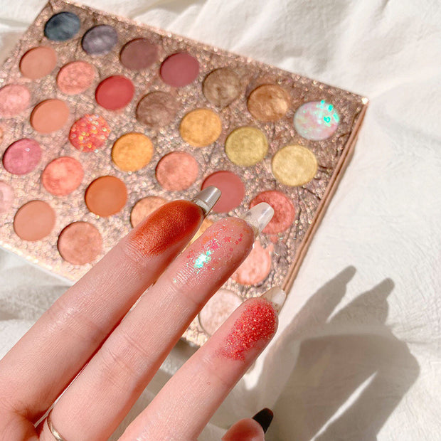 35 colors marble glitter eyeshadow palette - showemakeup