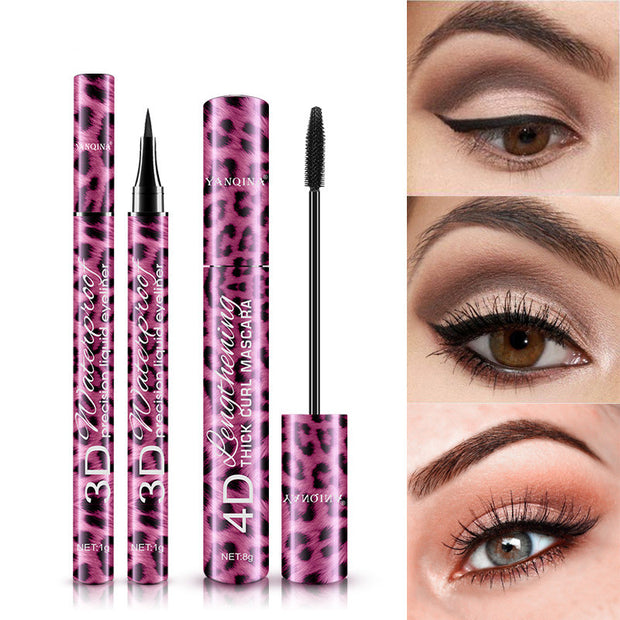Leopard print eyeliner and mascara 2 in 1 makeup set - showemakeup
