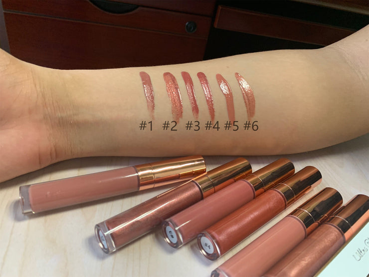 6 Colors Gold Lid Round Tube  Nude Lip Glosses - showemakeup