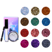 12 Colors Glitter Loose Powder +Base - showemakeup