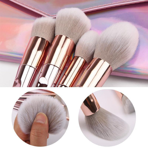 10 pcs Rose Gold Laser Makeup Brush Set - showemakeup