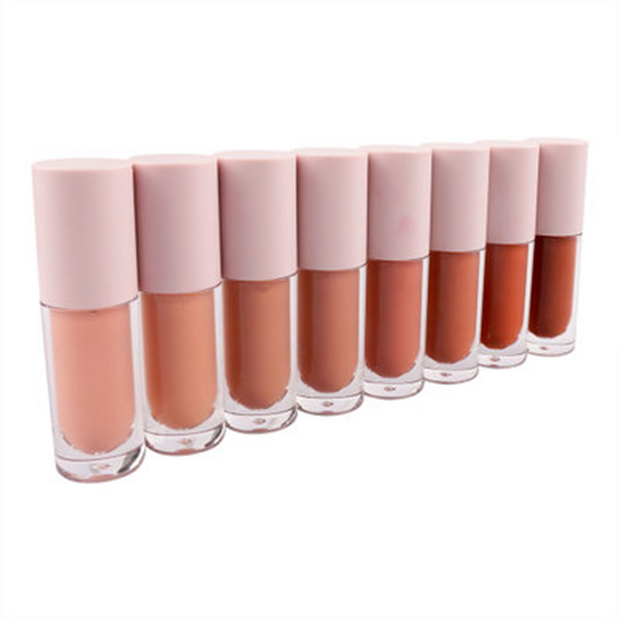 8 Colors Pink Lid Round Tube Nude Lipsticks - showemakeup