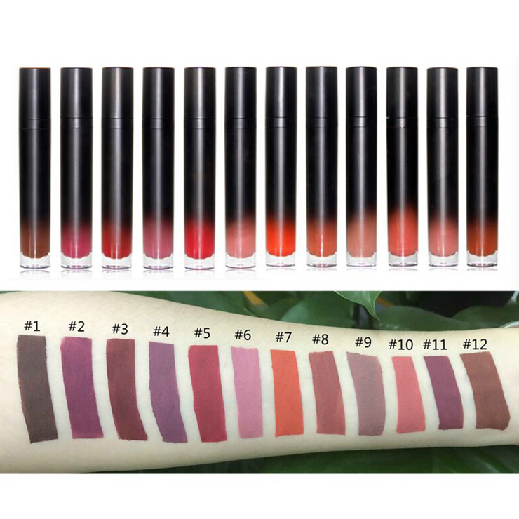 12 Colors Gradient Round Tube Lipsticks - showemakeup