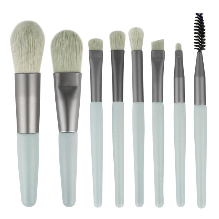 8 portable soft hair makeup brushes with wooden handle - showemakeup