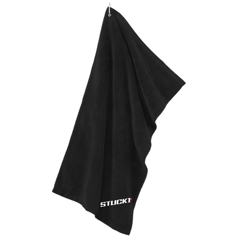 Make every shot count with clean clubs with the STUCK1 Black Player Microfiber Golf Towel. Our premium black golf towel is durable, soft and is perfect for polishing your clubs, chrome, plastic and other delicate surfaces. This soft golf towel is ideal for any golfer to help them wipe down delicate surfaces without scratching them - on and off the golf course. The STUCK1 Black Player Microfiber Golf Towel features a convenient grommeted with silver carabiner hanging system.