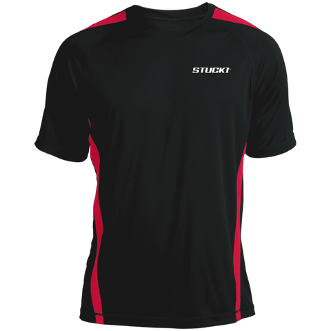The STUCK1 Colorblock Dry Zone Crew red on black is a cool way to keep you cooler when things heat up. The patented moisture-wicking technology is great for fighting odor and helps increase performance and flexibility with colorblock side panels, raglan sleeves. The unique construction of the Colorblock Dry Zone Crew also allows for easy movement.